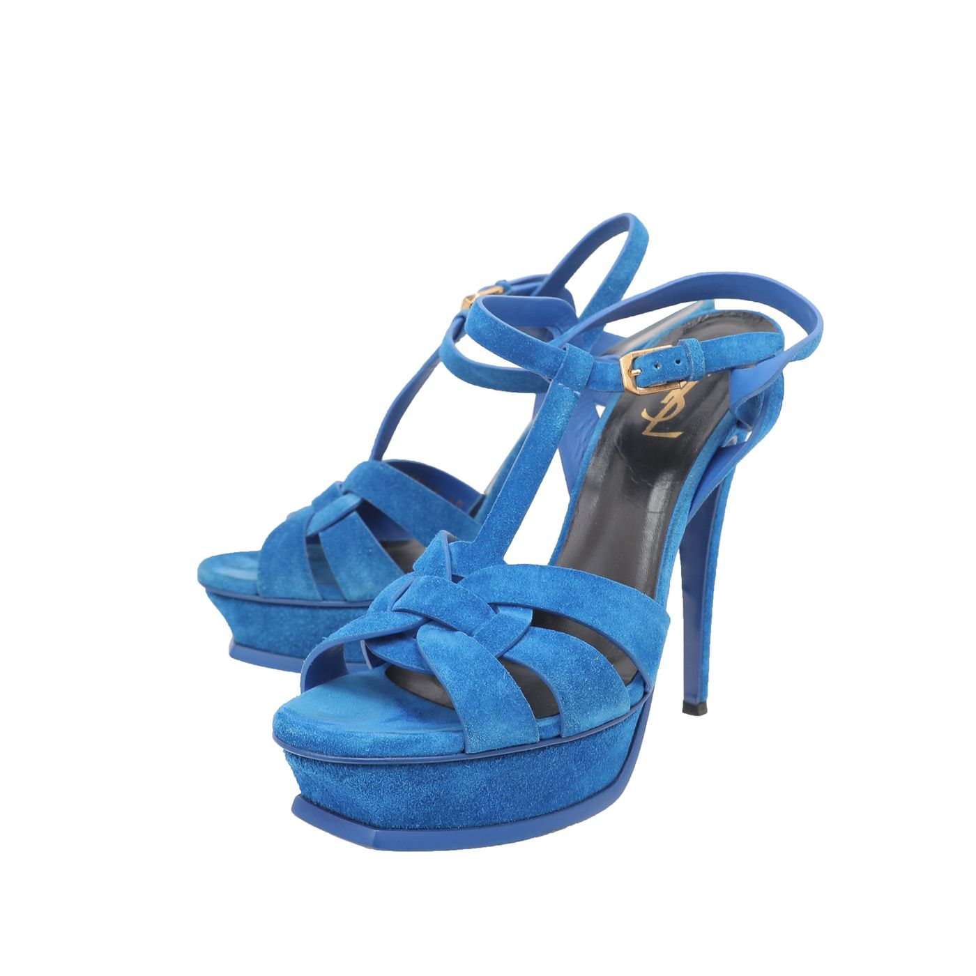 YSL Royal Blue Velvet Tribute Sandals 40